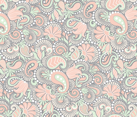 Pink Paisley  fabric by dearchickie on Spoonflower - custom fabric