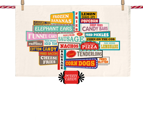 State Fare Tea Towel || fair carnival amusement park junk food snacks typography summer restaurant truck vendor sign marquee cut and sew diy kitchen