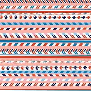 Airmail Stripes* (Peach Halves) || postal service mail post par avion bird ribbon geometric chevron
