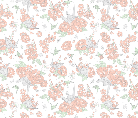 Origami Style - Floral White fabric by electrogiraffe on Spoonflower - custom fabric