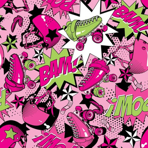 Roller Derby Slam - Pink and Green