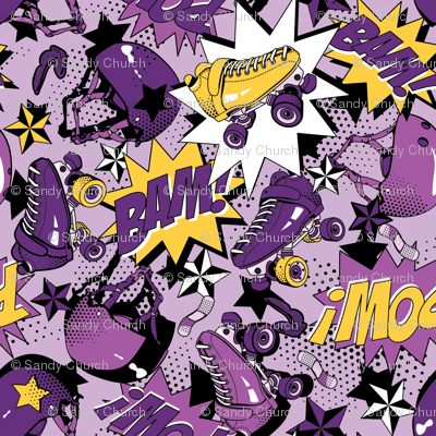 Roller Derby Slam - Purple and Yellow
