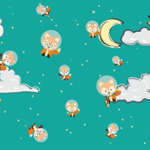 Foxes in Space_Teal
