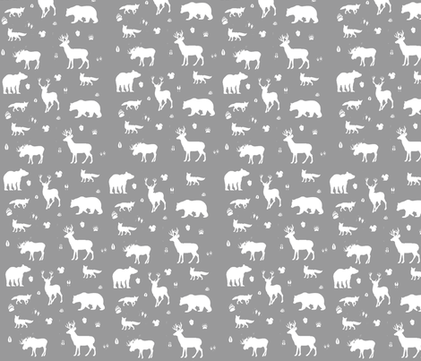 woodland animals // grey fabric by buckwoodsdesignco on Spoonflower - custom fabric