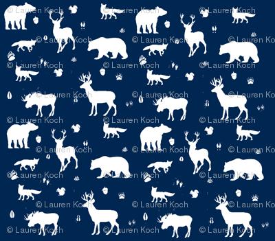 woodland animals // indigo