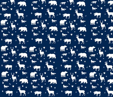 woodland animals // indigo fabric by buckwoodsdesignco on Spoonflower - custom fabric