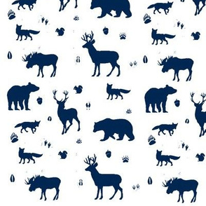 woodland animals // indigo on white