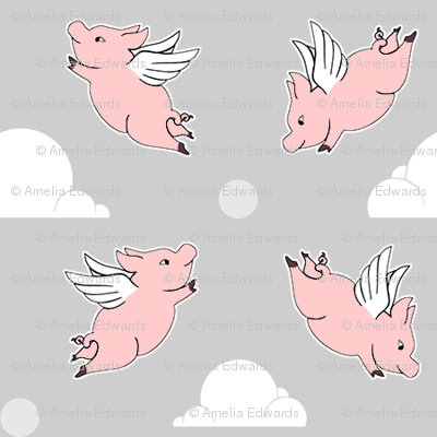 When Pigs Fly - Solid Grey Background