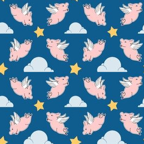 When Pigs Fly - Night Sky Solid Blue