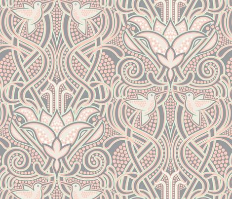 Hummingbird Blooms fabric by meliszawang on Spoonflower - custom fabric
