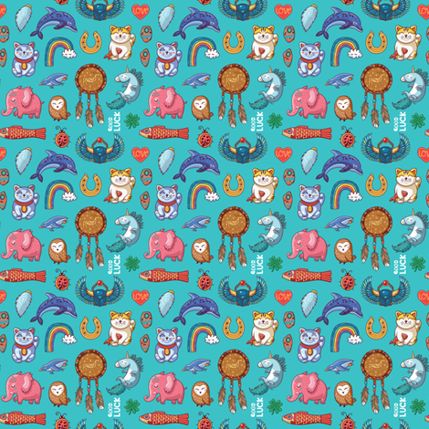 good luck_small size fabric by penguinhouse on Spoonflower - custom fabric