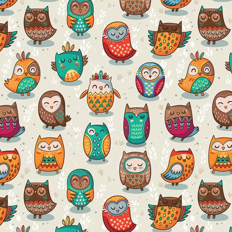 tribal owls fabric by penguinhouse on Spoonflower - custom fabric