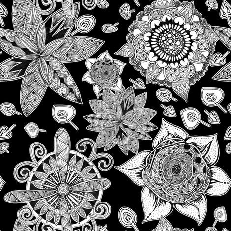 Zen flower garden fabric by danidesign on Spoonflower - custom fabric