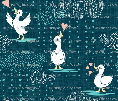 Ducks Love Rain - Dark Teal