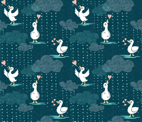 Ducks Love Rain - Dark Teal fabric by pinky_wittingslow on Spoonflower - custom fabric