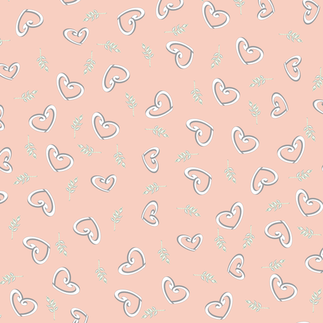 My Heart is Falling For You - The Wedding Edition in peach fabric by inscribed_here on Spoonflower - custom fabric
