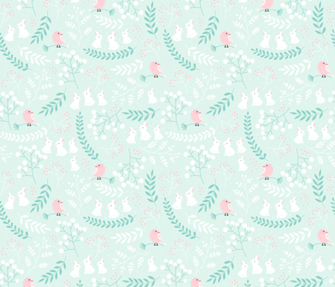 Rabbits and Birds fabric by innamoreva on Spoonflower - custom fabric