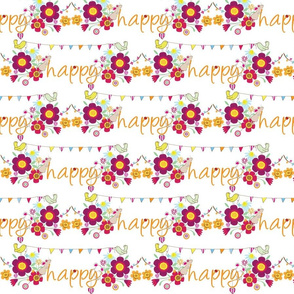 happy_cute_rabbit_mouse_ladybird_flowers_fun_happy
