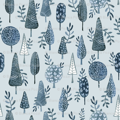 Winter Trees Blue/ Forest winter / Winter woodland fabric