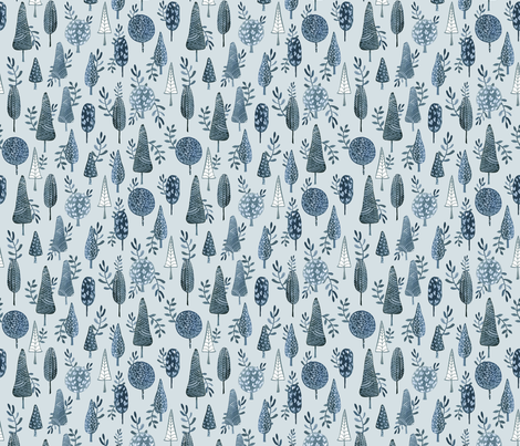 Winter Trees Blue/ Forest winter / Winter woodland fabric fabric by bianca_pozzi on Spoonflower - custom fabric