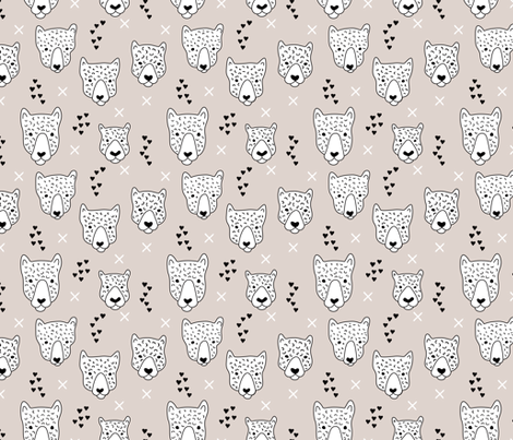 Cool leopard safari animals sweet baby panther love geometric kids illustration black and white pastel beige fabric by littlesmilemakers on Spoonflower - custom fabric