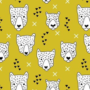 Cool leopard safari animals sweet baby panther love geometric kids illustration mustard yellow