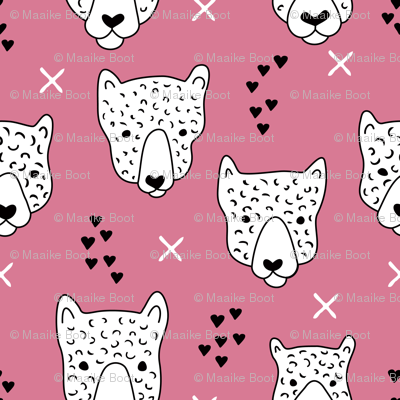 Cool leopard safari animals sweet baby panther love geometric kids illustration pink