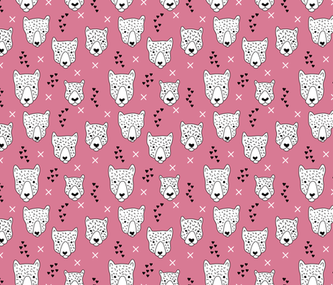 Cool leopard safari animals sweet baby panther love geometric kids illustration pink fabric by littlesmilemakers on Spoonflower - custom fabric