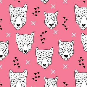Cool leopard safari animals sweet baby panther love geometric kids illustration pink