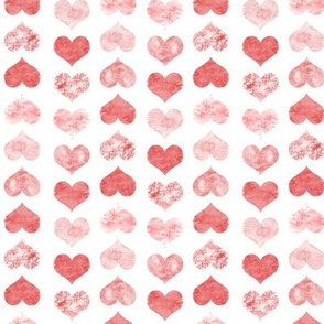 Watercolor Hearts, Red