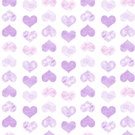 Watercolor Hearts, Violet fabric by pearl&phire on Spoonflower - custom fabric