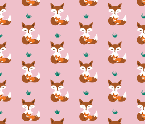 MotherBabyFox_rose fabric by woo_hoo_design on Spoonflower - custom fabric