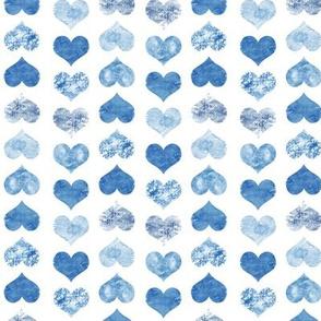 Watercolor Hearts, Navy Blue