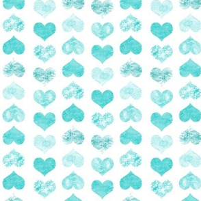 Watercolor Hearts, Aqua Green