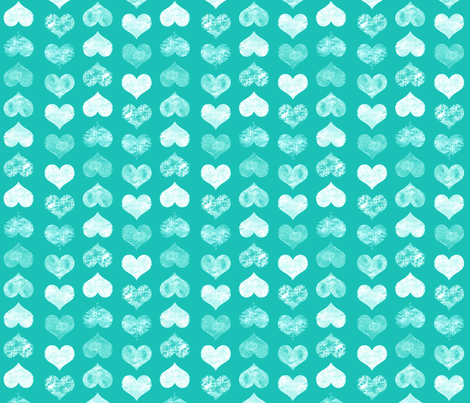 Watercolor Hearts, Turquoise fabric by pearl&phire on Spoonflower - custom fabric