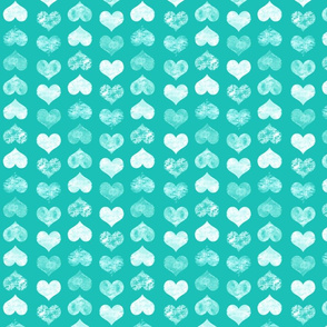 Watercolor Hearts, Turquoise