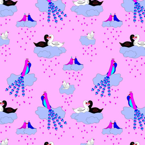 Love birds on cloud 9
