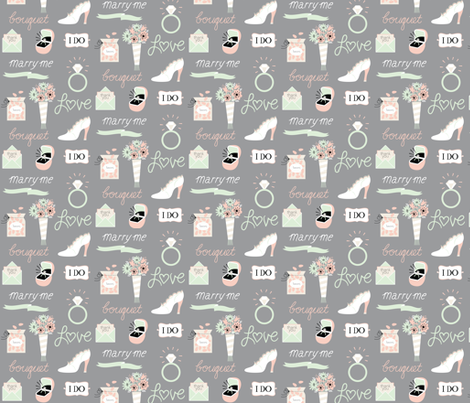 marry me! in gray fabric by pinkowlet on Spoonflower - custom fabric