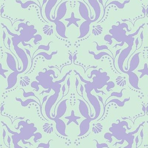 Mermaid Damask - Lavender/Mint-ch