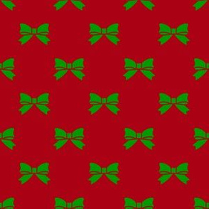 Christmas Green Bows on Dark Red