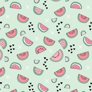 Summer watermelon fruit illustration fun kids design in colorful pastel mint and pink