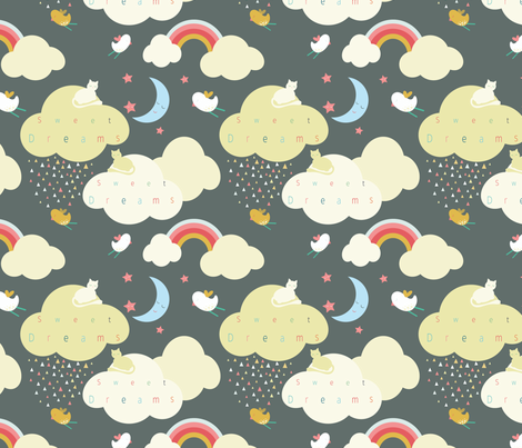 Clouds, black fabric by michellegracedesign on Spoonflower - custom fabric