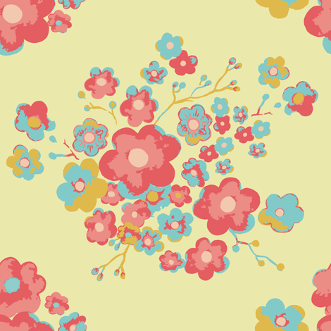 Painterly Floral, lemon fabric by michellegracedesign on Spoonflower - custom fabric