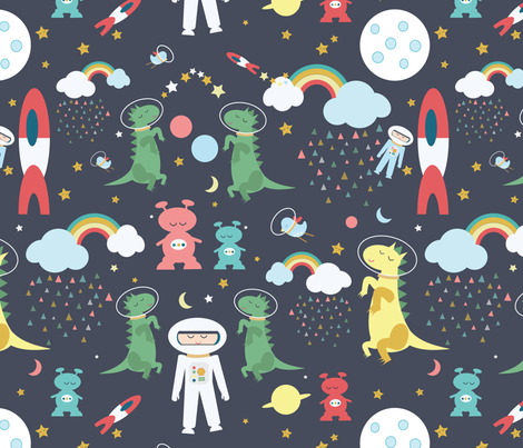 Space, black fabric by michellegracedesign on Spoonflower - custom fabric