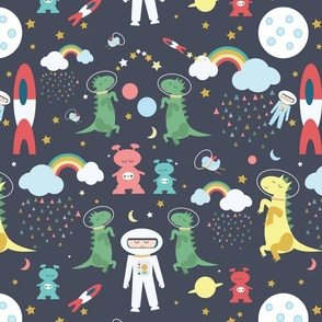 Space fabric wallpaper gift wrap spoonflower for Space shuttle fabric
