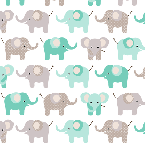 Happy elephants fabric by heleenvanbuul on Spoonflower - custom fabric