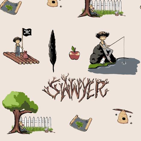 sawyer_redo_tan fabric by newspaper_balloon on Spoonflower - custom fabric