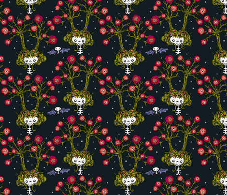 tree and roses fabric by skellychic on Spoonflower - custom fabric
