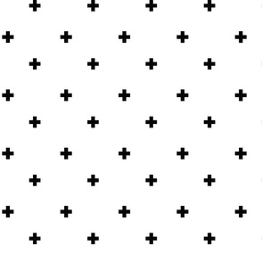 Swiss Cross Plus Sign in Black and white / Baby Fabric