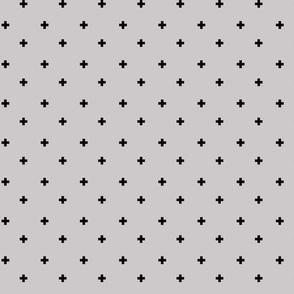 Swiss Cross Fabric in Gray and Black